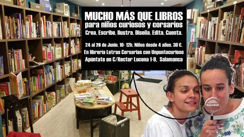 Cartel taller Mucho más que libros - Letras Corsarias Librería Salamanca